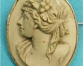 Grey Goddess Antique Lava Cameo Brooch Pin