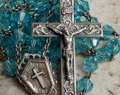 Vintage Sterling Easter Lily Azure Blue Glass Bead Rosary