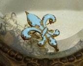 Antique Blue Enamel Fleur de Lis Watch Pin Brooch