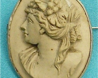 Antique Lava Cameo Brooch Pin