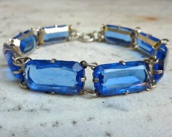 1920s Sapphire Blue Chunky Baguette Paste Open Back Bezel Set Sterling Bracelet