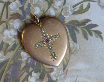 Antique Heart Locket with Pearl and Ruby Cross