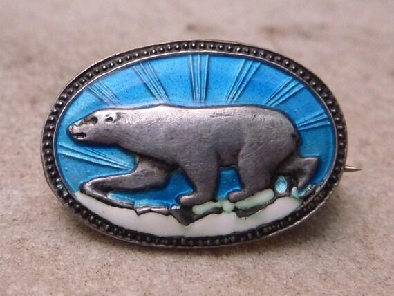 Vintage DAVID ANDERSEN Norway Enamel Polar Bear Pin Isbear