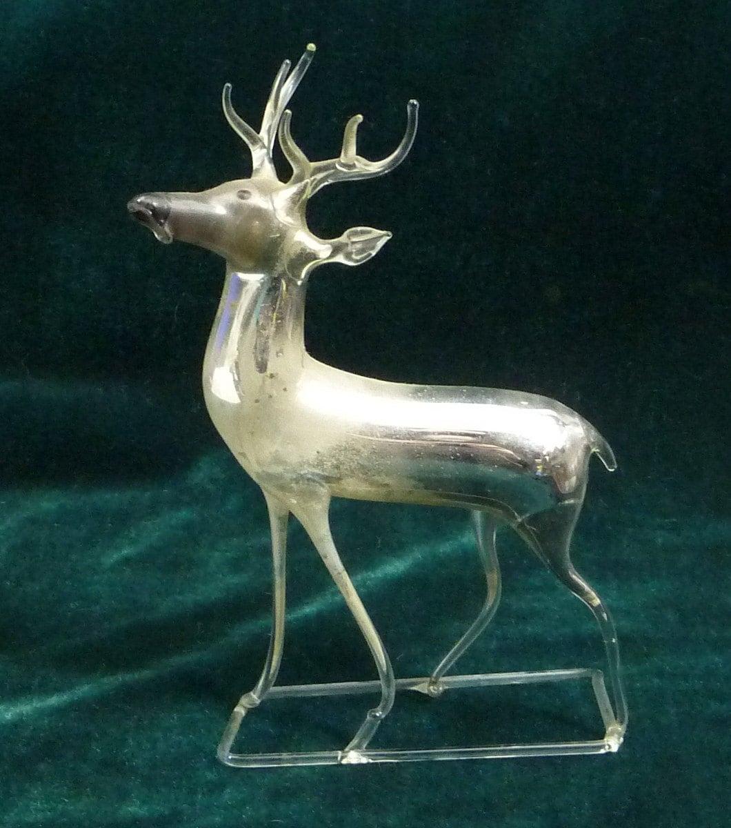 ice deer antique mercury glass reindeer christmas ornament
