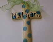 Personalized  Blue Polka Dot Baby Boy's Baptism, Christening or Confirmation Cross