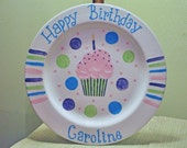 Personalized Happy Birthday Cupcake Plate in Your Choice of Name and Color in Blue, Purple, Pink  and Green  Children's Birthday Gift