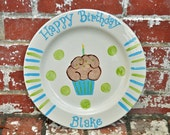 Personalized Happy Birthday Cupcake Plate in Your Choice of Name and Color in Blue and Green  Makes Great Children's Birthday Gift