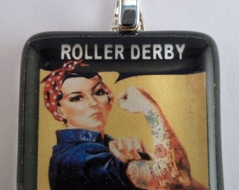 FREE CHAIN Roller Derby Rosie the Riveter-Glass Tile Necklace