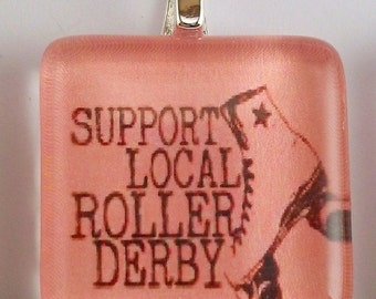 FREE CHAIN Roller Derby -Support Local Roller Derby-Glass Tile Necklace