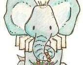 ACEO ORIGINAL.Animals with Posies. ELEPHANT.