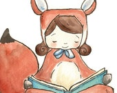 Foxy Girl is Reading. PRINT 8X10. Nursery Art Home Decor