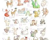GIRLS Alphabet Chart. PRINT 8X10. Nursery Art Home Decor