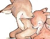 CHILDREN ART. My Baby Deer. Print 8X10. Nursery Art Home Decor