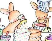 Children Art Print. Baking Day. PRINT 8X10. Nursery Art Home Decor