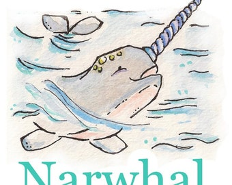 N is for Narwhal. ALPHABET PRINT. 5X7 Nursery Art Wall Decor