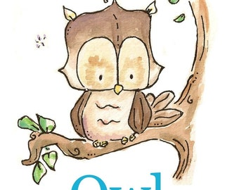 O is for Owl. ALPHABET PRINT. 5X7. Nursery Art Wall Decor