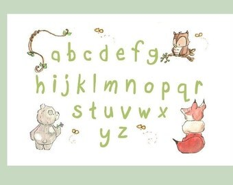 WOODLAND ALPHABET. Print 8X10. Nursery Art Wall Decor