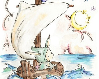 Bunny's Boat. PRINT. 8X10.  Nursery Art Wall Decor