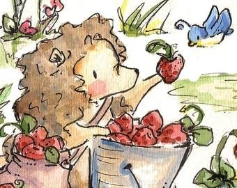 Strawberry Picking. PRINT. 8X10. Nursery Art Wall Decor