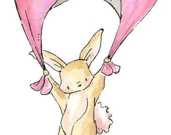 Floating Bunny. PRINT 8X10. Nursery Art Wall Decor