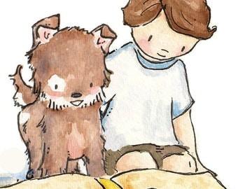 A Boy and His Dog. Print. 8X10. Nurserry Art Wall Decor
