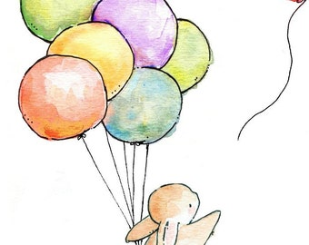 Children Art Print. Goodbye Balloon. PRINT 8X10. Nursery Art Home Decor