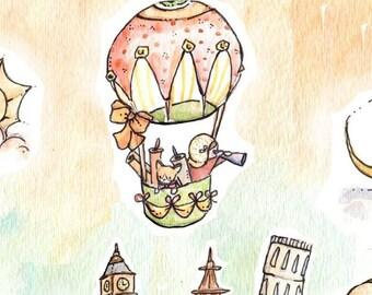 Children Art Print. VINTAGE Let's Travel-GIRL. PRINT 8X10. Nursery Art Home Decor