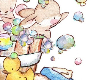 Children Art Print. Bunny Bubble Bath. PRINT 8X10. Nursery Art Home Decor