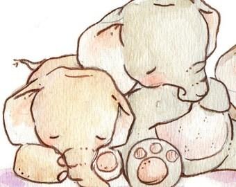 Children Art Print. Sleepy Elephants. PRINT 8X10. Nursery Art Home Decor