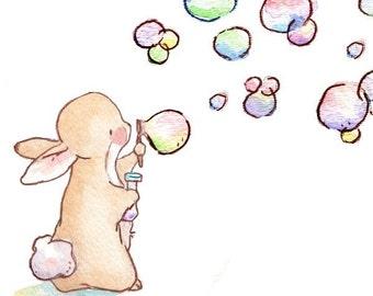 Children Art Print. Bubbles for Bunnies. PRINT 8X10. Nursery Art Home Decor
