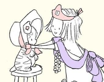 Children Art Print. DRESS-UP. PRINT 8X10. Nursery Art Home Decor