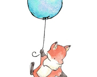Children Art Print. Fox Flies Away. PRINT 8X10. Nursery Art Home Decor