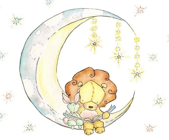 Moonlight Reading. PRINT  5X7