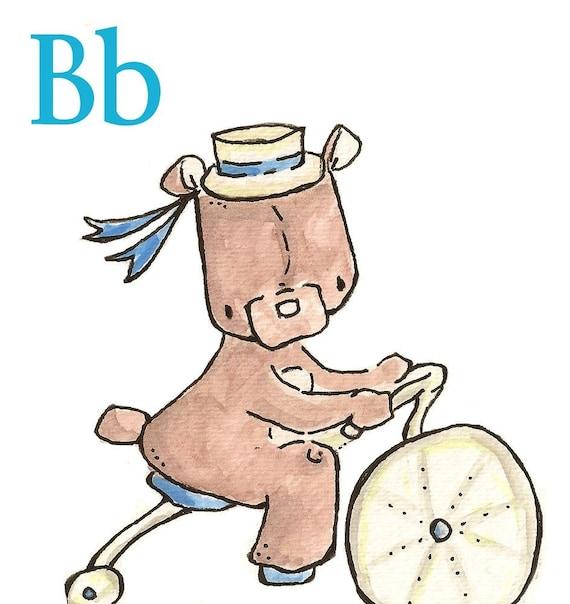 B is for Bear. ALPHABET PRINT. 5X7 Nursery Art Wall Decor