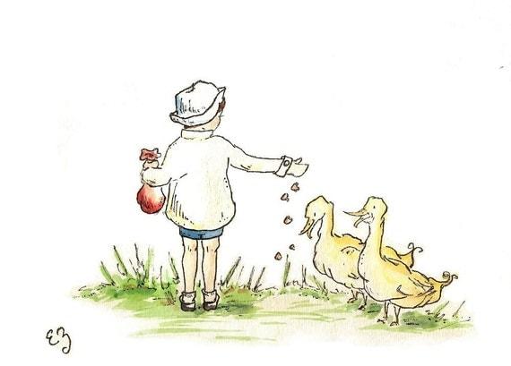 Children Art Print. Ducky Days. PRINT 8X10. Nursery Art Wall Decor