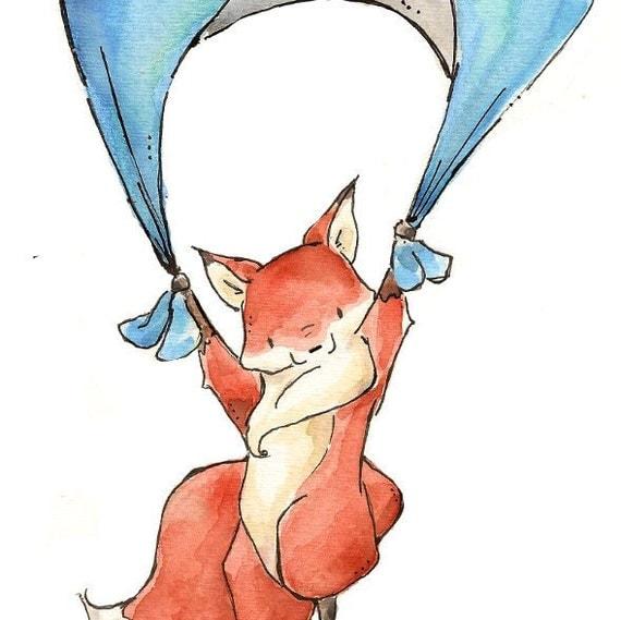 Floating Fox.  PRINT 8X10. Nursery Art Wall Decor