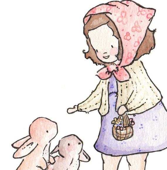 Children Art Print. All the Pretty Bunnies. PRINT 8X10. Nursery Art Home Decor