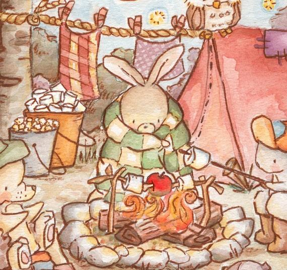 Children Art Print. The Camping Trip. PRINT 8X10. Nursery Art Home Decor