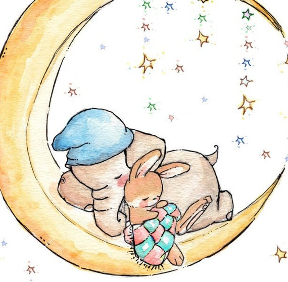Children Art. Sleepy on the Moon. PRINT 8X10. Nursery Art Home Decor