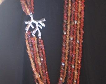 Sahara Tree of Life multi strand necklace with semi precious gem chips