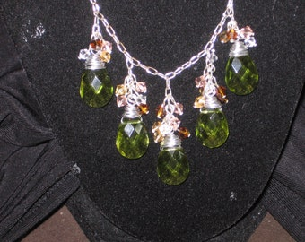 Green tear drop jeweled necklace