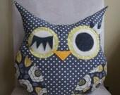 Owl Pillow Plush -  gray yellow  polka dots - Ready to ship