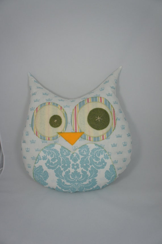 Large Lucky Owl Decorative Pillow - blue sparkly crowns  - Ready to ship