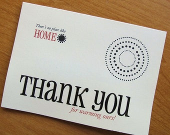 Thank You for Warming Our Home/Housewarming Thank You Card/Polka Dots Thank You Card