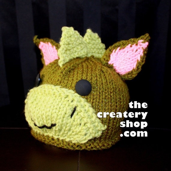 Baby Dinosaur Knitting Pattern : Knitting Pattern Cute Baby Dinosaur Dragon Hat PDF by createry