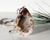 Geode Pendant, Druzy Crystal Quartz Half Slice, Brown, Cream, White, Swirly  Polished Back Inv. 421