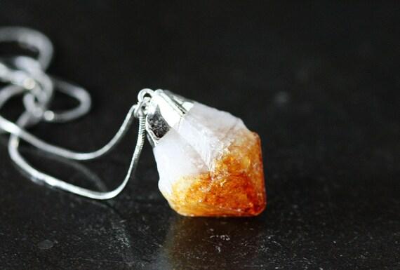 Citrine Pendant, Raw Point, Orange,  Crystal Quartz, Silver Dipped, Dark Golden Honey INV. 267