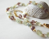 Green Prehnite with Purple Glass Adjustable Necklace