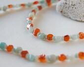 Amazonite, Carnelian with heishi necklace