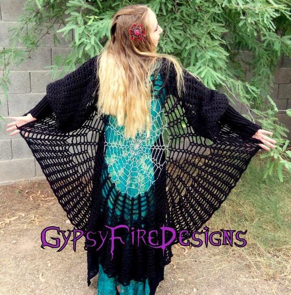Raven Wings Spiderweb Mandala Tunic Vest and Gauntlets 3 Crochet PATTERNS